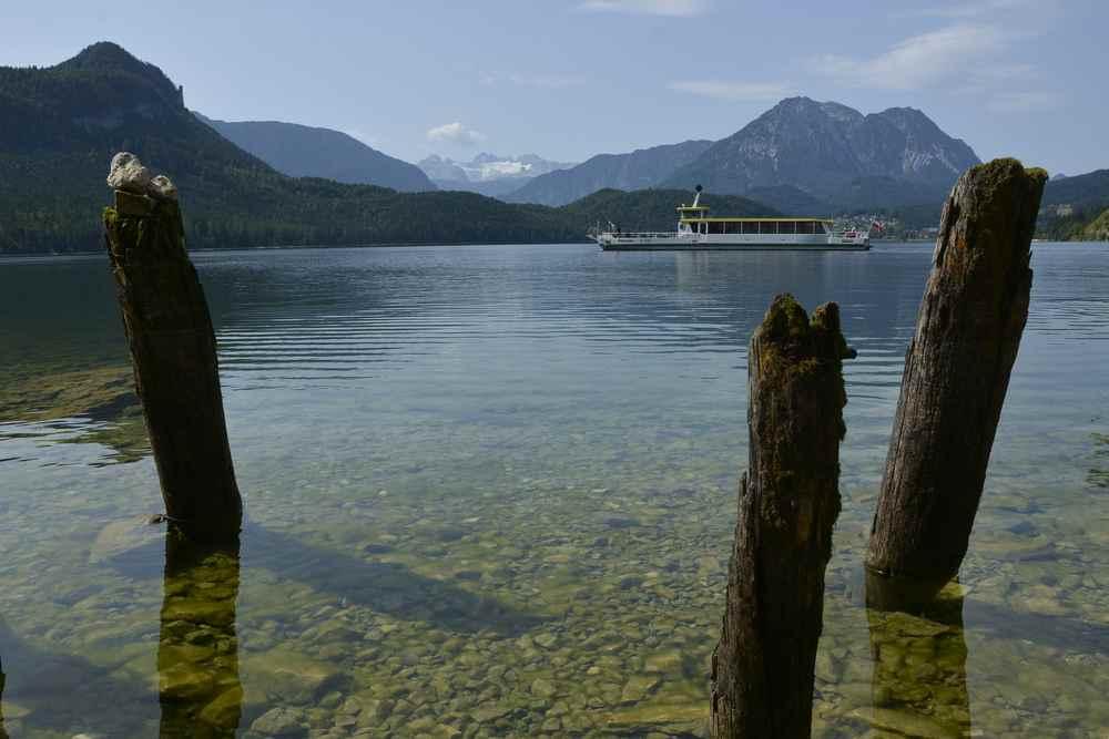 In der Mitte der Familienwanderung haben wir diesen Blick über den Altausseer See mit dem Dachsteingletscher