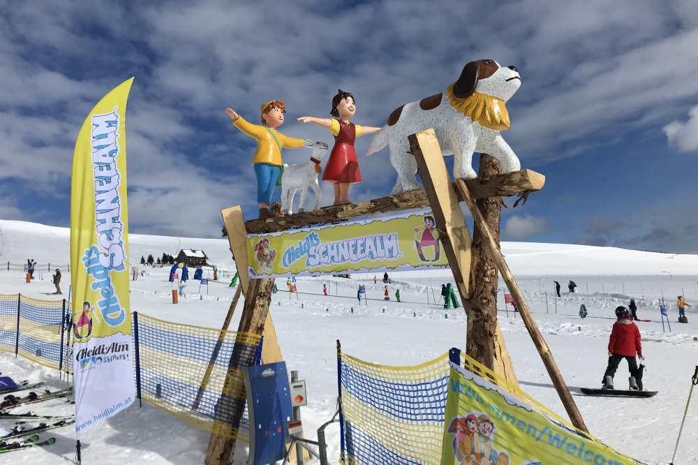 Das ist das Anfänger-Skigelände Falkertsee Skigebiet: Das Kinderland zum Skifahren üben heißt Heidi´s Schneealm