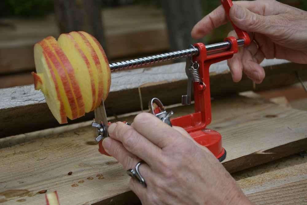 """Nebenbei gibt es eine kleine Stärkung mit einem Apfel - Anna hat extra ihre """"Apfelschneidemaschine"""" dabei. Die Kindern finden daran Gefallen."""
