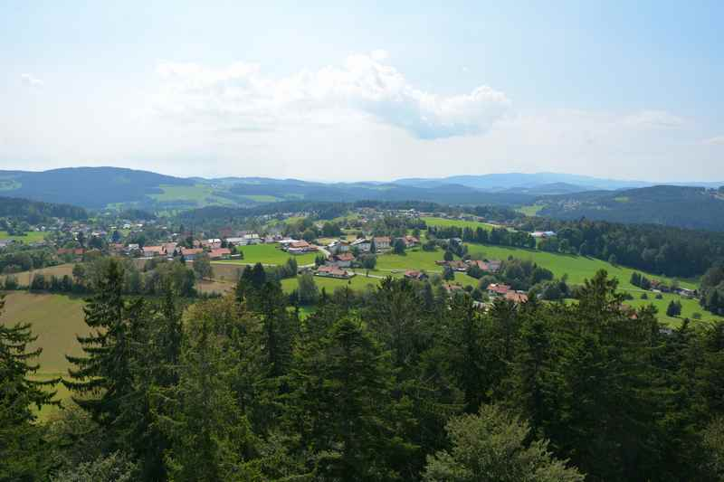 Das ist der Blick vom Aussichtsturm im Bayerischen Wald