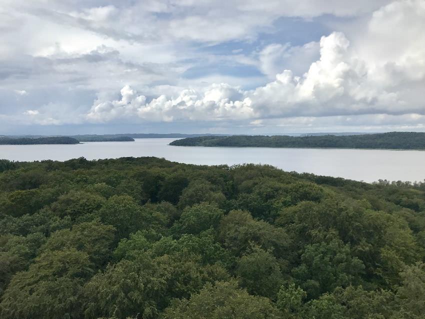 Oben haben wir am Baumwipfelpfad Rügen diesen Ausblick über die Insel