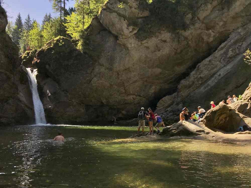 Das Ziel unserer  Buchenegger Wasserfälle Wanderung: Der untere Wasserfall