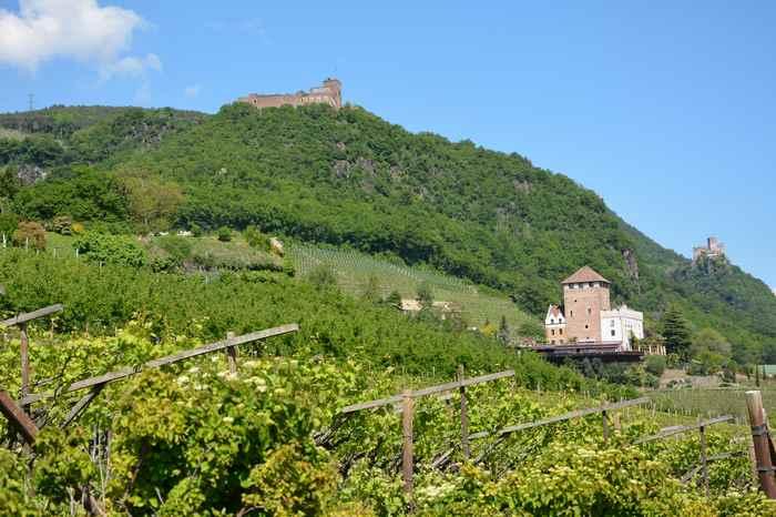 Burgenwanderung Eppan in Südtirol: Links die Schloss Boymont, in der Mitte die Burg Korb und rechts die Burg Hocheppan