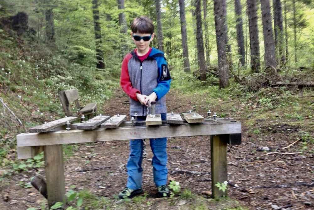Das fand der Junior am coolsten: Das riesige Wald-Xylophon