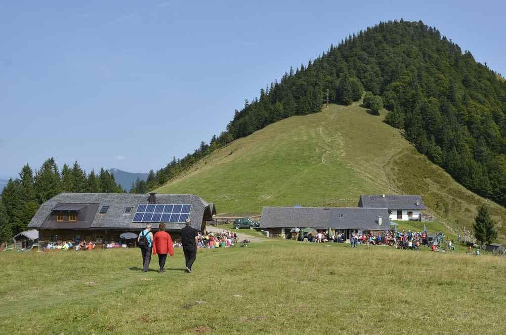 Das ist der Faistenauer Schafberg - eine einfache Wanderung mit Kindern, vorne die Oberwiesalm