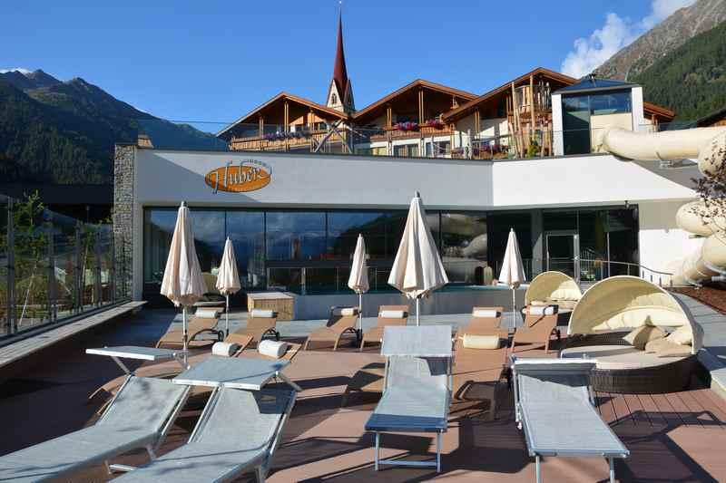 Blick auf das Hotel Huber Vals in Südtirol