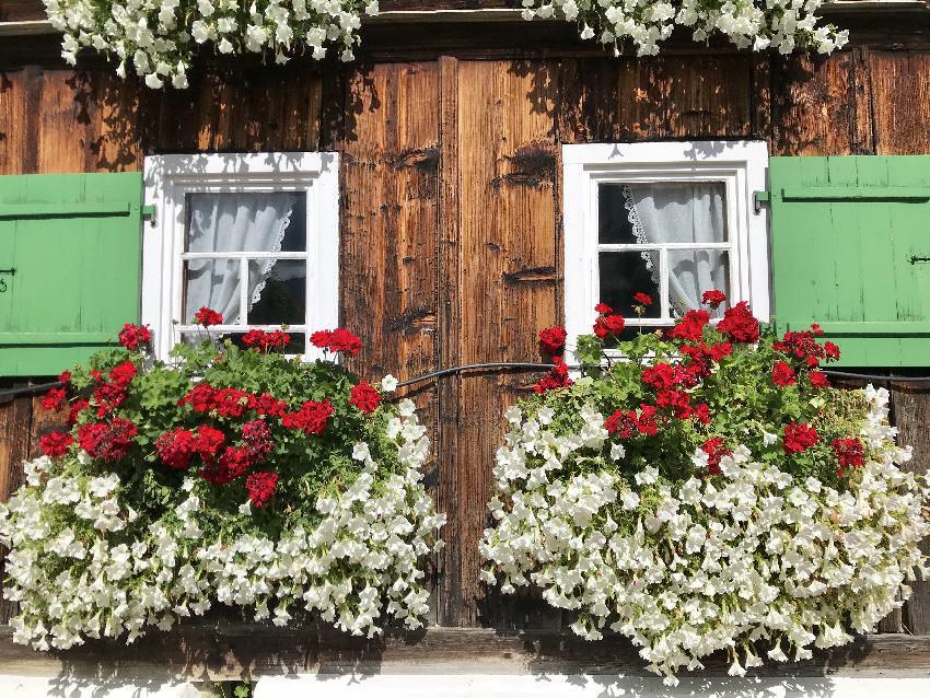 Familienhotels Vorarlberg - heimelige Bergatmosphäre mit Holz und Blumen
