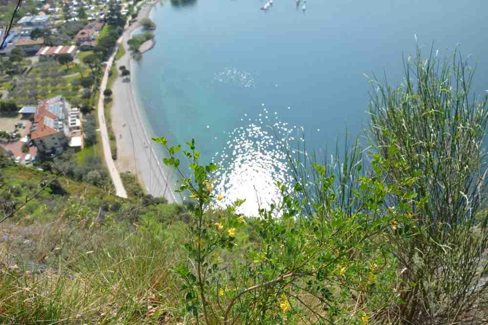 Am Monte Brione schauen wir hinunter auf den Gardasee und den Strand