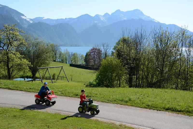 Am Nachmittag spielen die Kinder am Bauernhof, der Ferienwohnung am Attersee