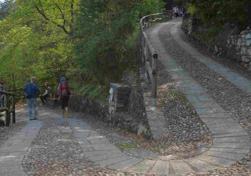 Über diesen breiten Weg führt der Weg hinauf, gut zum Wandern mit Kinderwagen