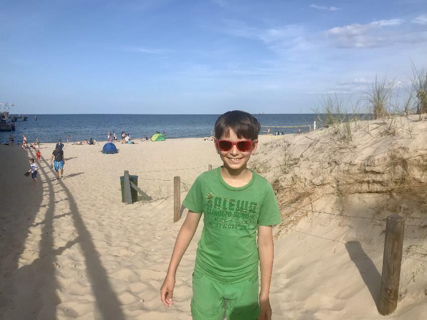 Danach gleich hinein in den Sand - du hast hier kilometerlang Sandstrand an der Ostsee