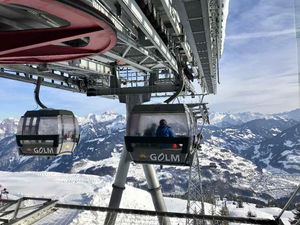 Golm Skigebiet: Mit dieser Gondel kommen wir hinauf zur Bergstation Grüneck
