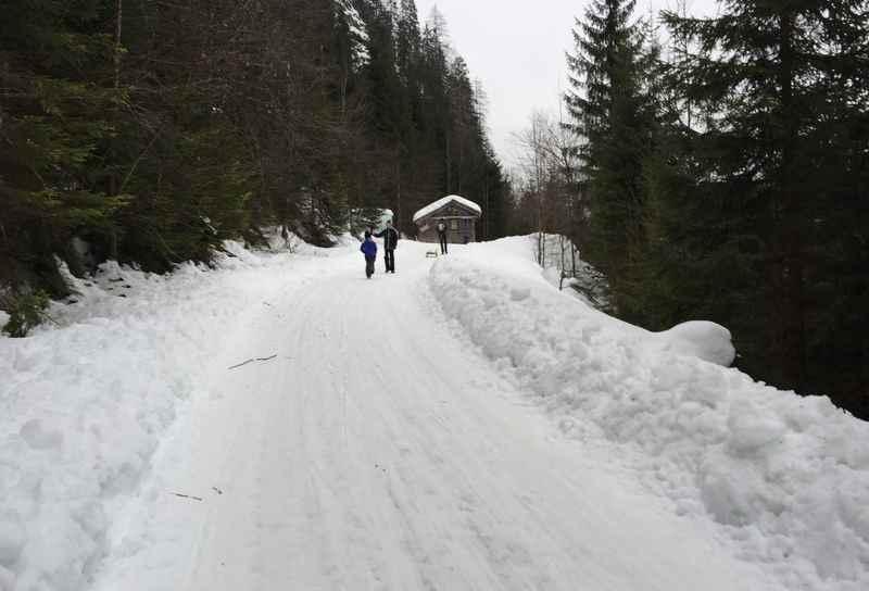 Rodelbahnn Gosau: Die letzten Meter der Winterwanderung. An der Holzhütte hängen außen alte Schlitten.