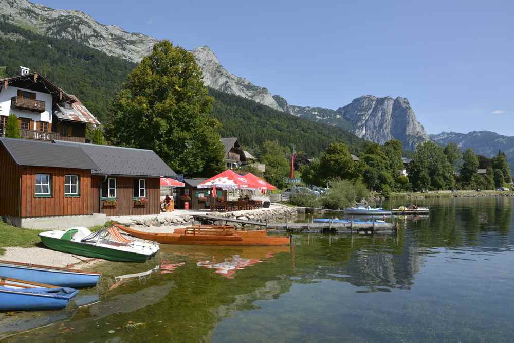 Drei Seen Tour: Bei dieser Kulisse legen wir ab und fahren über den Bergsee