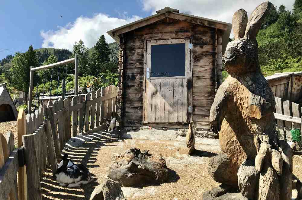 Und das ist das Hasengehege - die lebenden Hasen liegen im Schatten rund um den großen Holzhasen