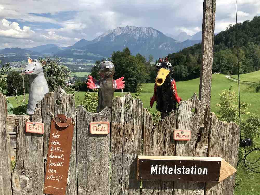 Auf dem Weg zur Sommerrodelbahn kommen wir bei der Familienwanderung am Hocheck an diesem Zaun vorbei