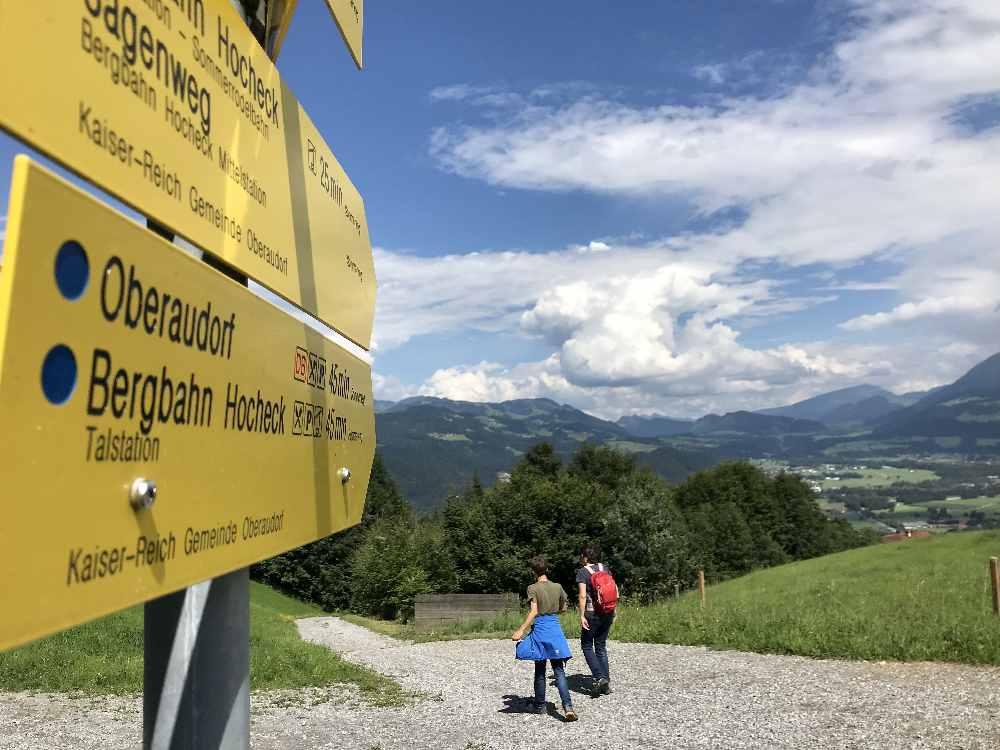 Vom Gipfel wandern wir hinunter in Richtung Mittelstation zur Sommerrodelbahn Oberaudorf