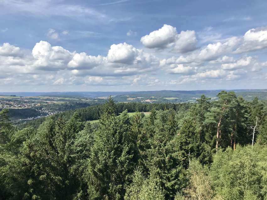 Das ist ein Teil der Aussicht vom Lucas Cranach Turm über den Frankenwald und Kronach