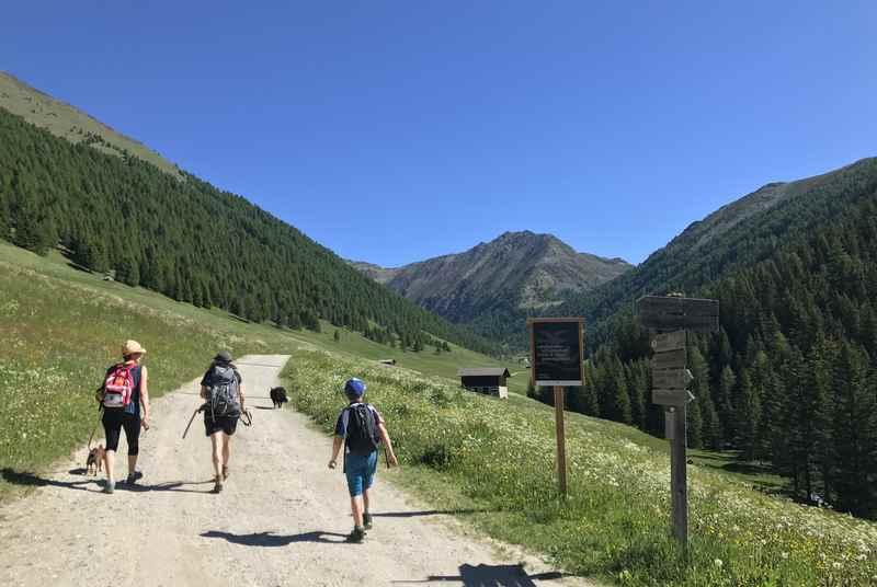 Der breite Wanderweg im Altfasstal - ideal als Kinderwagen Wanderung in Südtirol - zur Wieserhütte