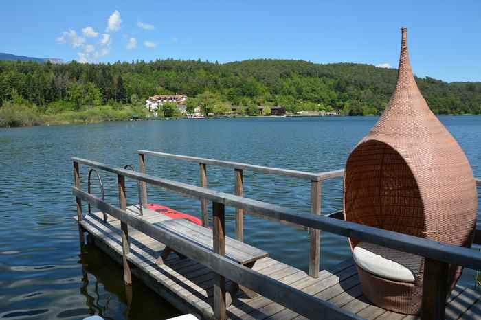 Exklusiver Seezugang für Gäste des Gartenhotel am Montiggler See zum Baden nach der Wanderung