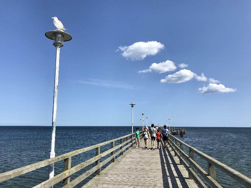 Seebrücke Usedom: ... dahinter geht es auf dem Holzsteg hinaus auf´s Meer