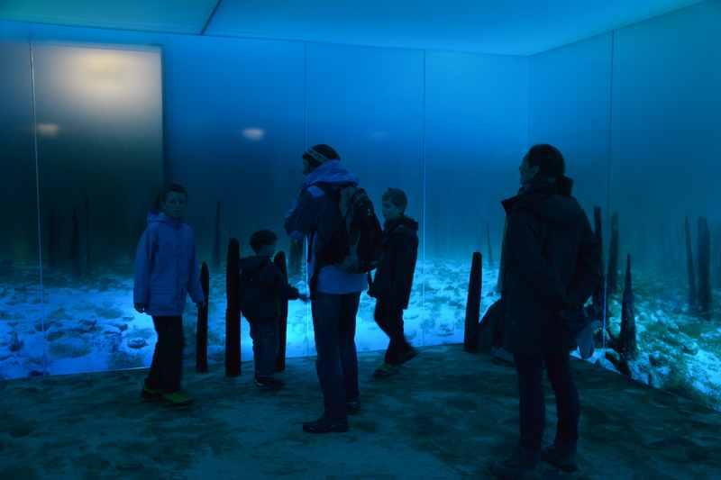 Mit Kindern im Pfahlbauten Museum am Bodensee - unter Wasser in Vorführung