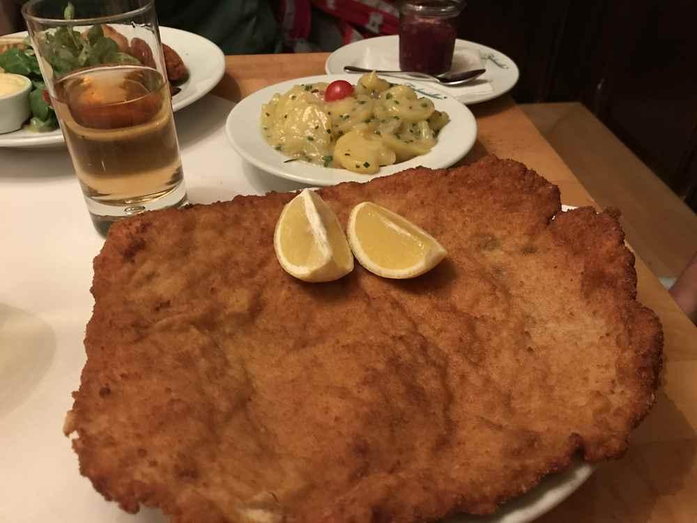 Bäckerstrasse Figlmüller: So groß ist das Figlmüller Schnitzel - es ist übrigens ein Schweineschnitzel.