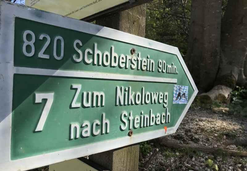 Unten an der Straße steht dieses Schild für die Schoberstein Wanderung - in Folge nimmt die Beschilderung stark ab