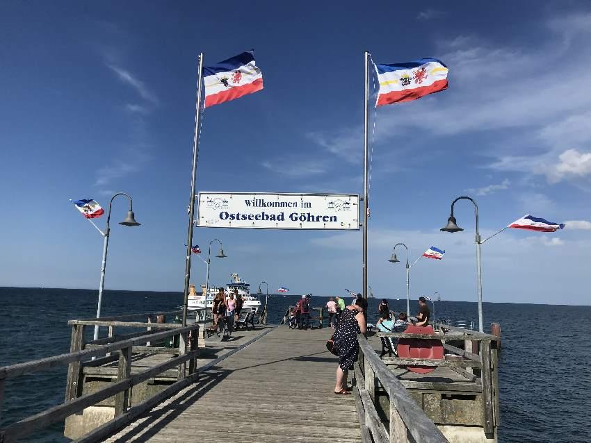 Auf der Seebrücke Göhren haben wir uns den Wind um die Ohren wehen lassen