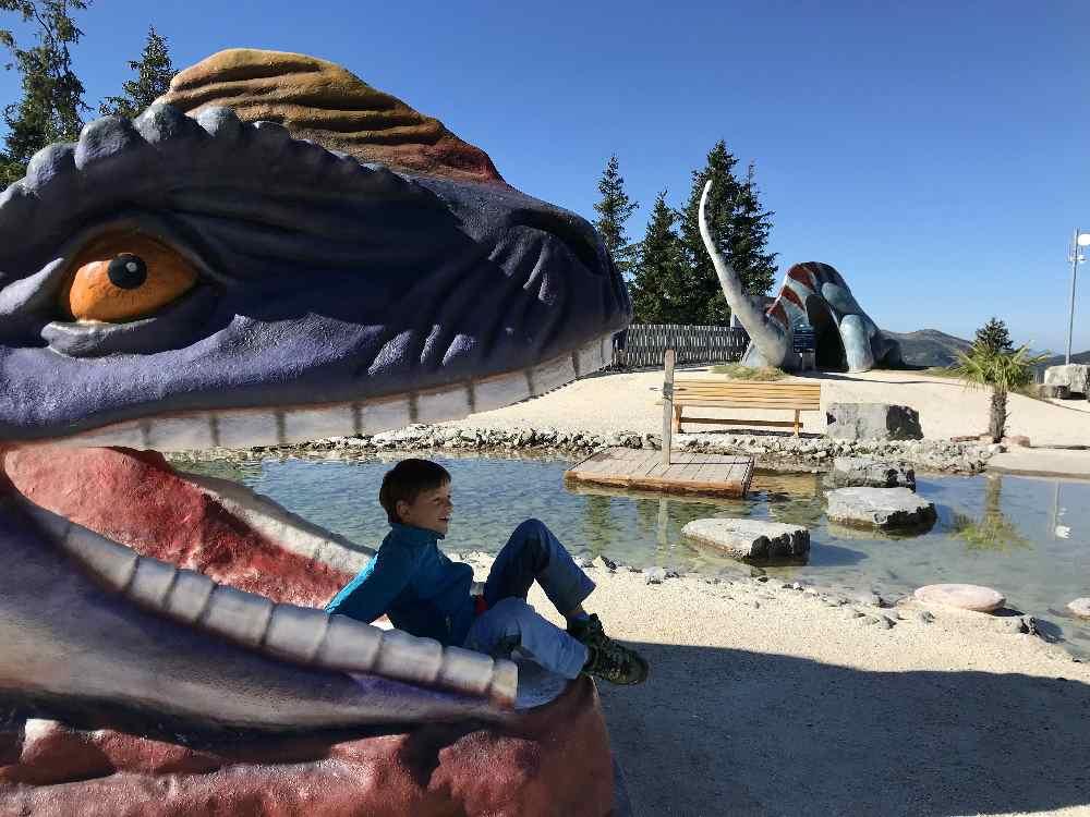 Spielplatz Tirol:  Auf der Steinplatte mit Dinosaurier Rutsche!