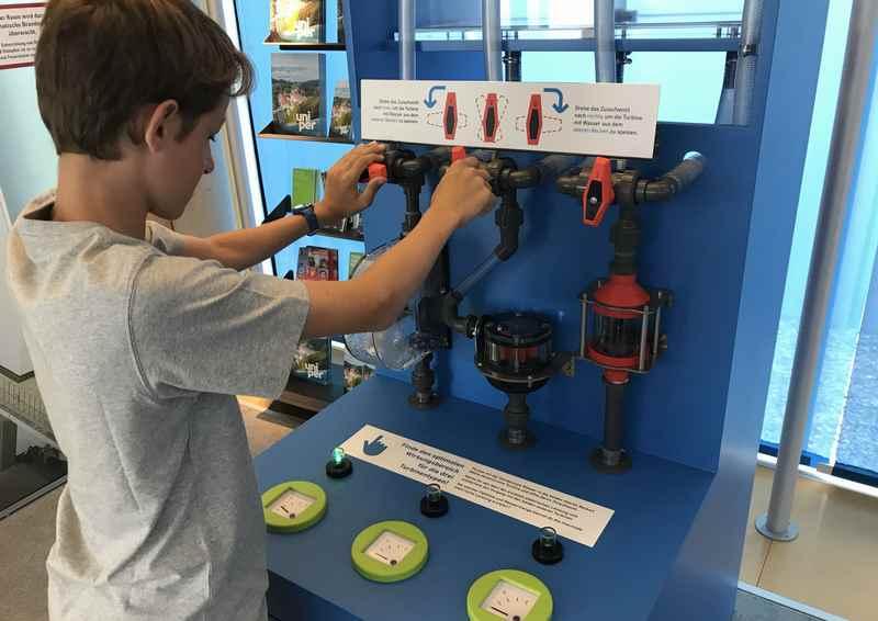 Hier können die Wirkungsgrade der unterschiedlichen Turbinen ausprobiert werden