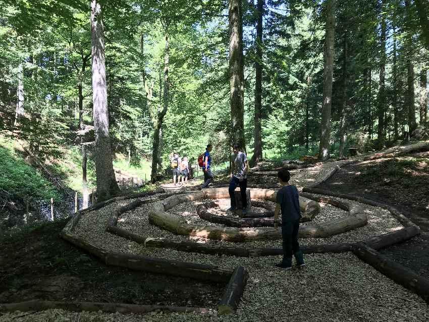 Waldbaden Allgäu - durch das Waldlabyrinth und dann zu den Liegen im Wald, um den Wald zu hören und riechen