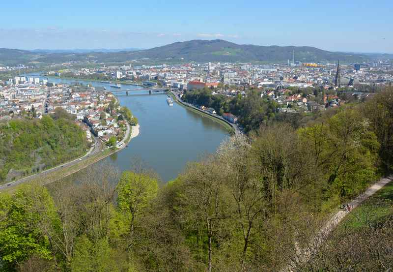 Der Blick über die Stadt Linz und die Donau beim Wandern mit Kindern am Freinberg