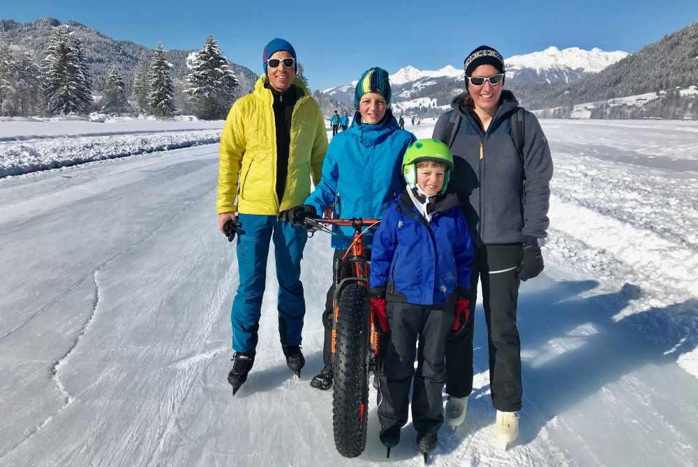 Weissensee Winterurlaub mit Kindern ohne Ski: Eislaufen, Fatbiken, ...