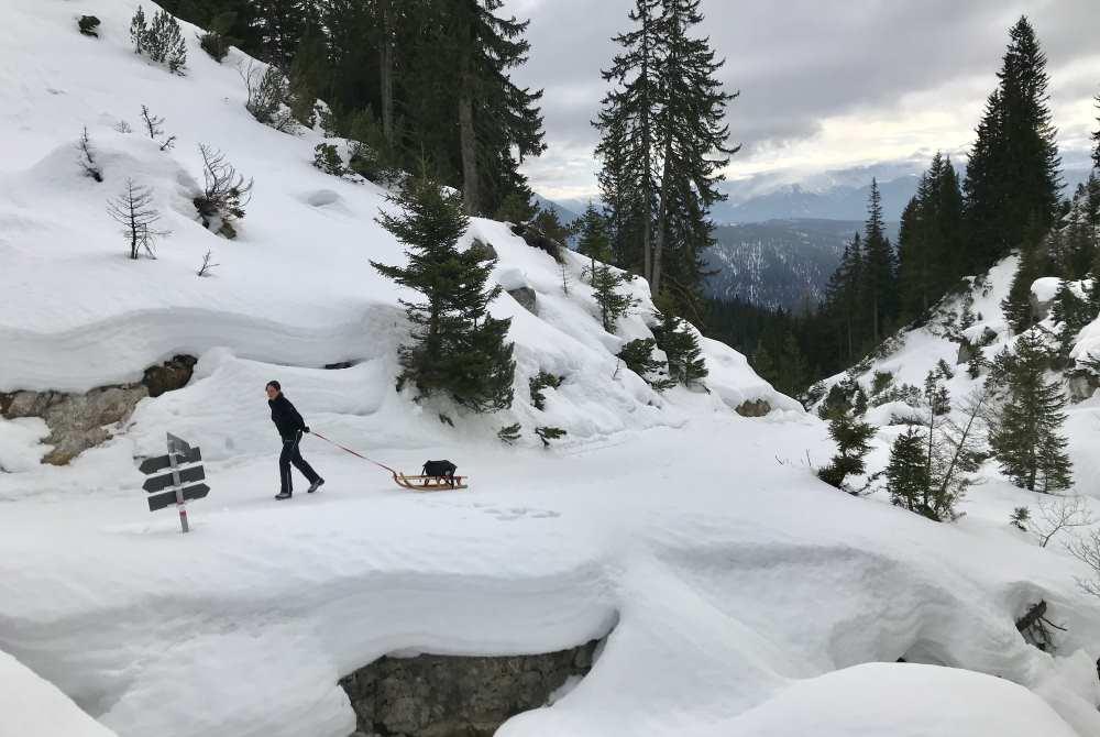 Wettersteinhütte Rodeln: Jetzt ist es nicht mehr weit bis zur beliebten Hütte in der Leutasch