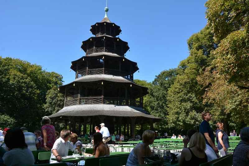 Chinesischer Turm -  eine der Sehenswürdigkeiten in München mit Kindern