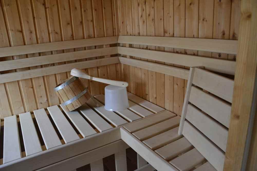 In der Berghütte haben wir sogar eine eigene Sauna für uns alleine