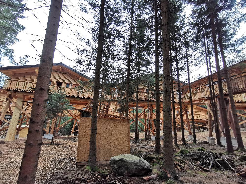 Der Blick auf das neue Baumhaushotel Kopfing - gerade erst fertiggestellt