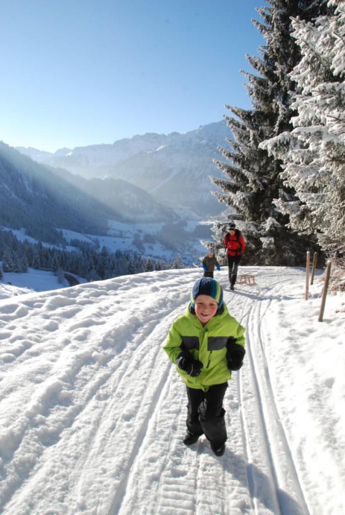 Rodelbahn Bayern -  hier beim Schlittenfahren im Allgäu