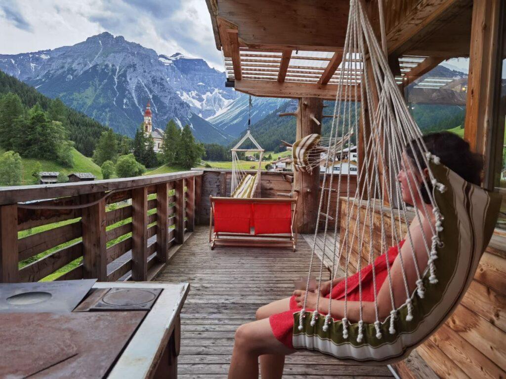 Ausblick aus dem Saunabereich am Dach von Almi´s Berghotel