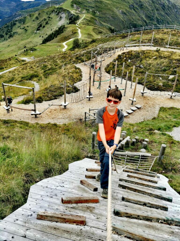 Das ist der große Niederseilgarten in Pepis Kinderland