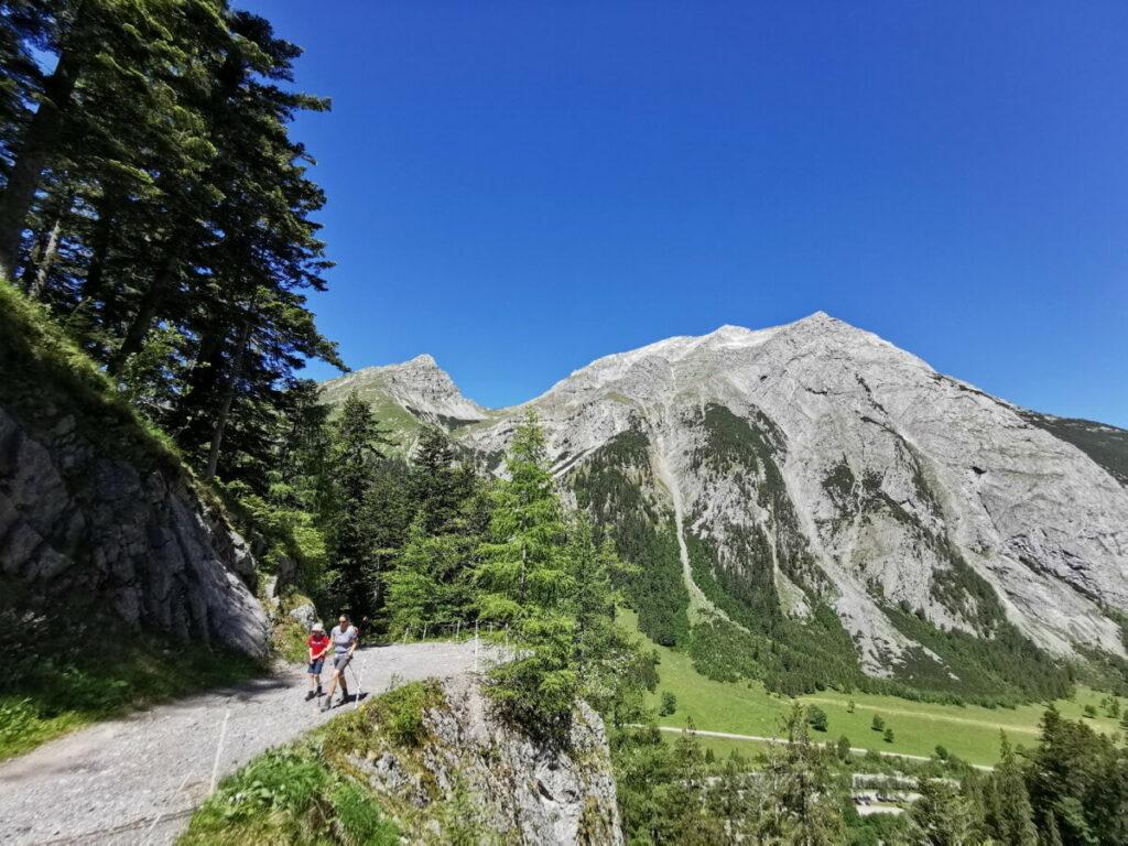 Die Binsalm Wanderung auf dem breiten Weg bietet viel Ausblick