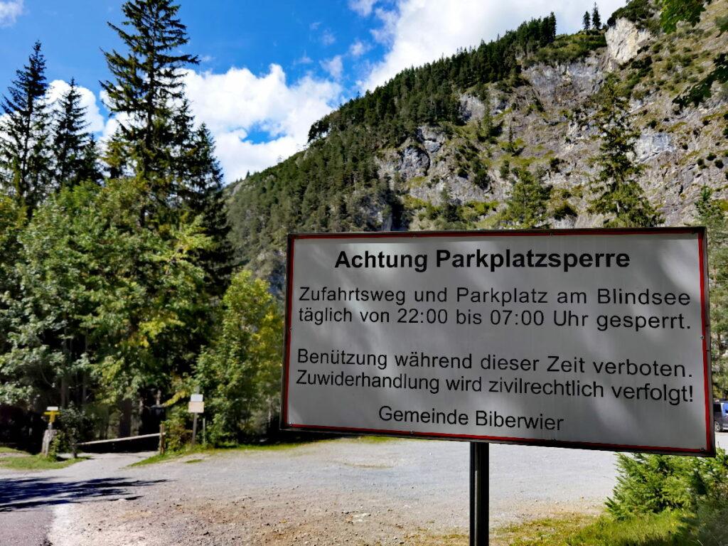 Blindsee parken - am Ende der Mautstraße, nur tagsüber!
