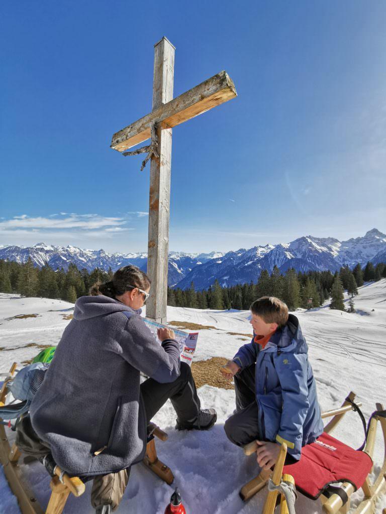 Unsere Rast bei der Furkla Alpe neben der Rodelbahn im Brandnertal