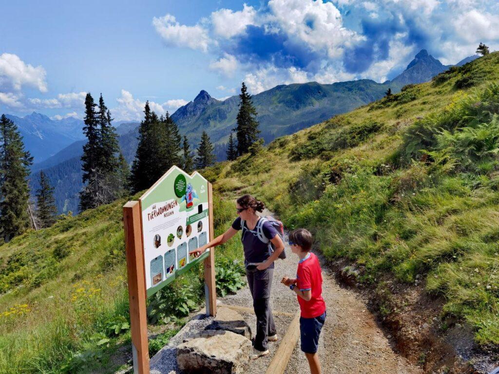 Aussichtsreich und kurzweilig am Golm wandern mit Kindern - Dank Golmi´s Forscherpfad