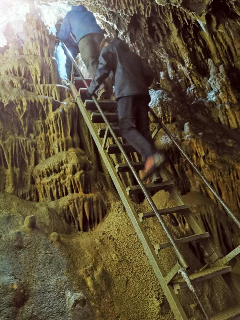 Der Katerloch Zustieg führt über solche Leitern