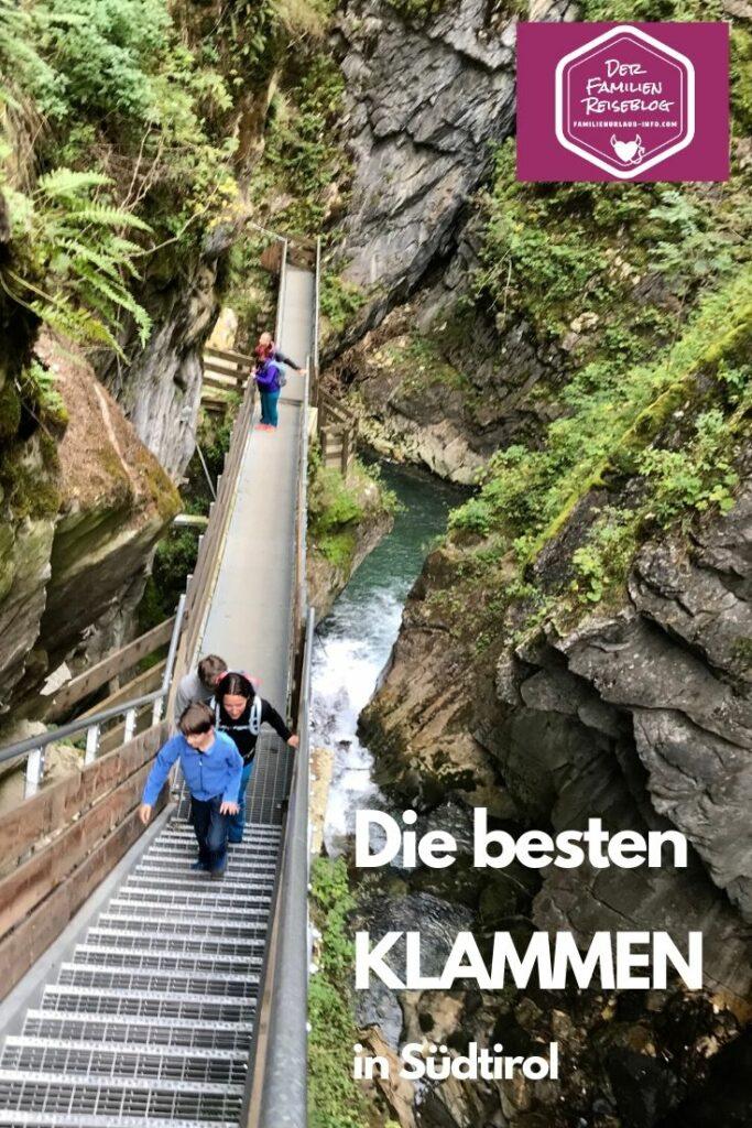 Klamm Südtirol - merk dir die schönsten Klammen in Südtirol