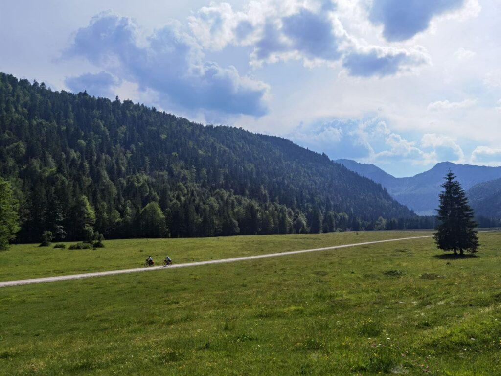 Vom Familienhotel Bayrischzell ins Kloo Ascher Tal - viel Landschaft mit Bergen ohne Steigungen