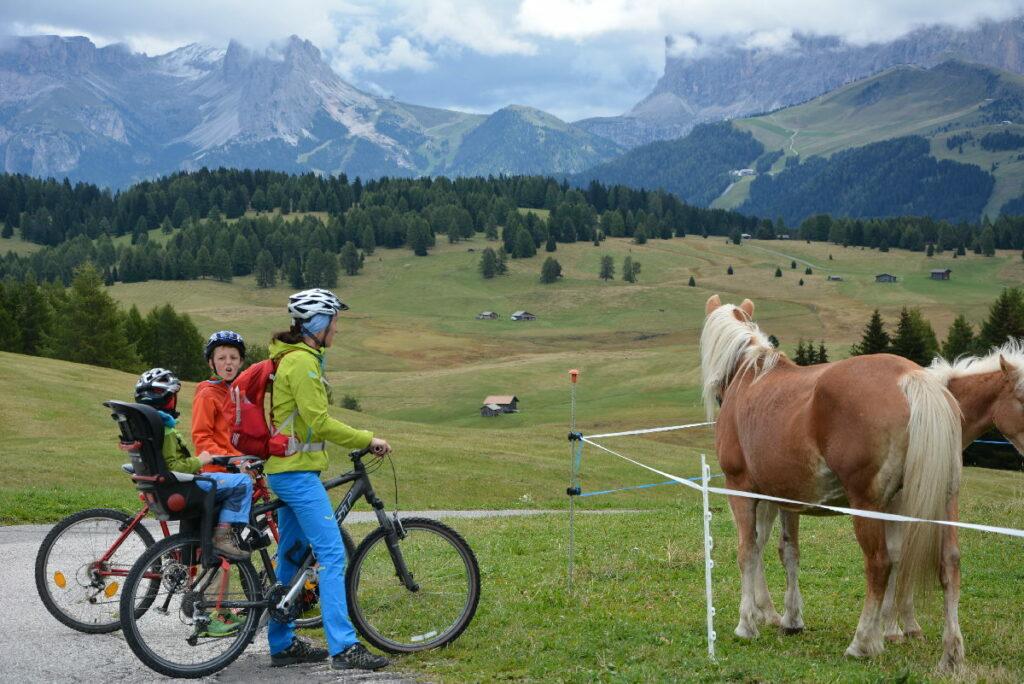 Mountainbiken mit Kindern in Südtirol: Der Kleine im Fahrradsitz, der Große fährt selbst