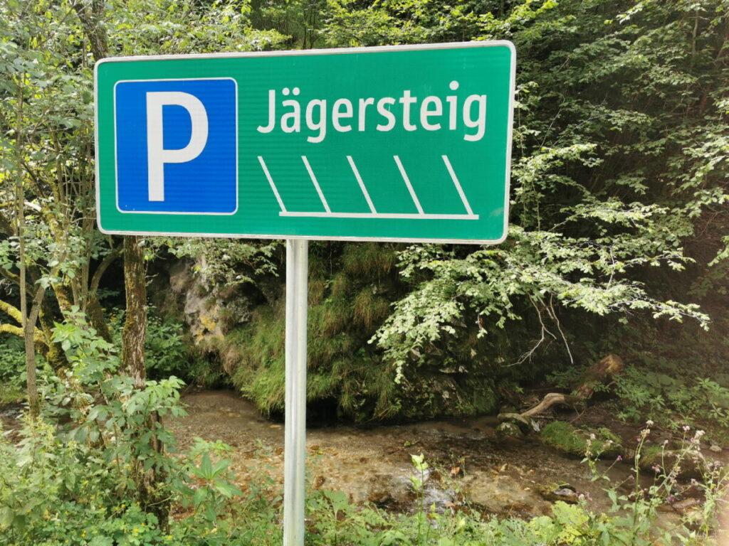 Der Weizklamm Parkplatz für den Jägersteig - direkt an der Straße durch die Klamm